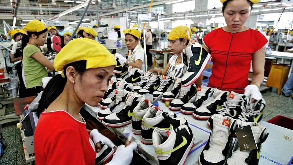 Nike shoes and footwear being made in a Vietnam factory
